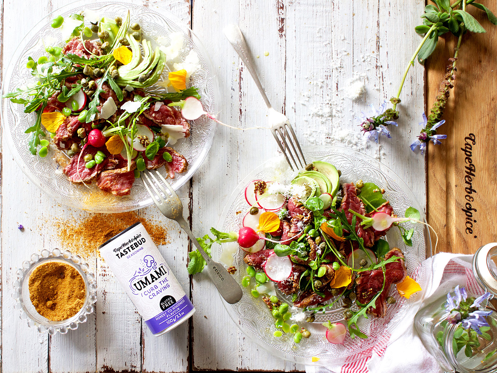 Ostrich Carpaccio Salad - Lizet Hartley Food Styling & Photography
