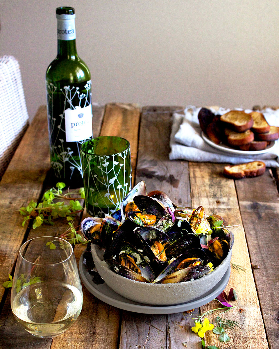 Sorrel Moules Mariniere & Protea Sauvignon Blanc - Lizet Hartley Food Styling & Photography